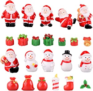 Garneck 23pcs Christmas Miniature Ornaments Resin Snowman Santa Claus Figurines Fairy Garden Landscape Accessories Dollhouse Decoration (Mixed Style)