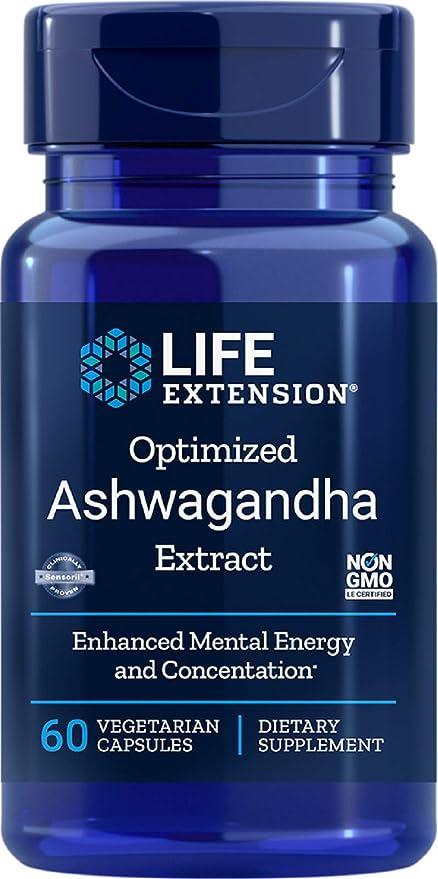 Life Extenson Ashwagandha Extract Veg Capsules, 60-Count, 60ct