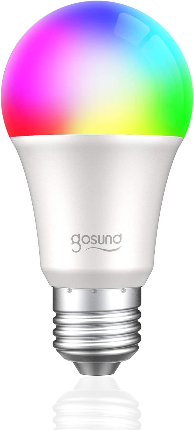 Smart Light Bulb Gosund LED WiFi RGB Color Changing Bulbs That Works with Alexa Google Home, E26 A19 8W Multicolor Lights Bulb, No Hub Required, 2.4GHz Only, 1 Pack