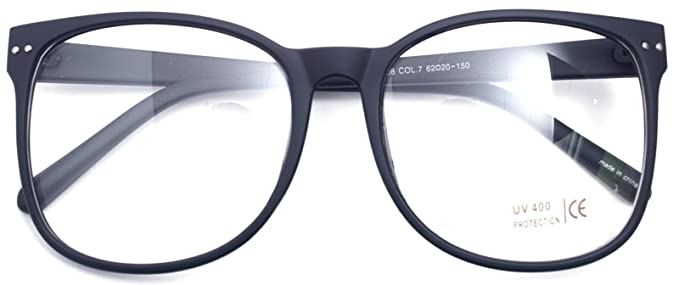 65e2a3727f3 Image Unavailable. Image not available for. Colour  Oversized Big Round  Horn Rimmed Eye Glasses Clear Lens Oval Frame Non Prescription (Matt Black