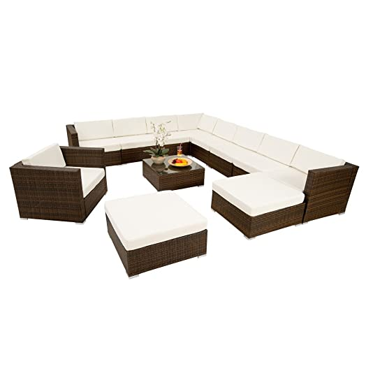 tectake xxl aluminium luxury rattan garden furniture sofa set outdoor wicker incl clamp brown black - Garden Furniture Sofa Sets