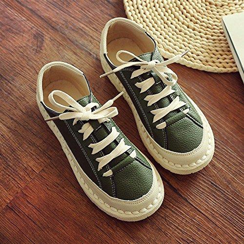 NSX Dedo del pie redondo de las mujeres de fondo plano de color sólido zapatos de cuero ocasionales top del punto bajo del zapato con cordones , green , 39