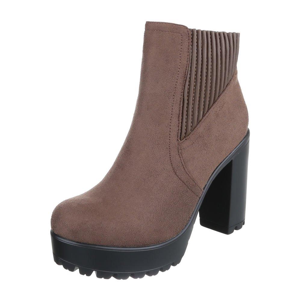 Ital-Design High Heel Stiefeletten Damenschuhe Schlupfstiefel Pump High Heels Reißverschluss Stiefeletten  39 EU|Hellbraun