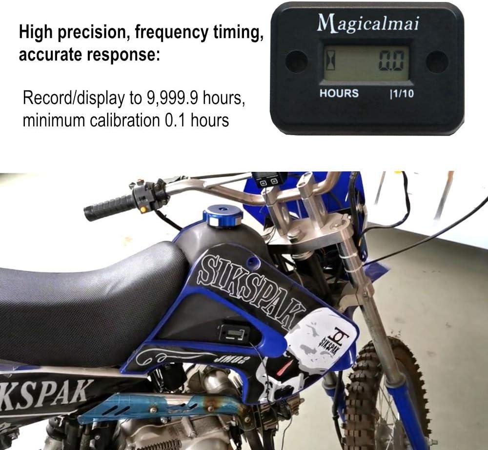 Magicalmai Inductive Hour Meter for Gas Engine Lawn Mower Dirt Bike Motorcycle Motocross Snowmobile Karting Marine ATV Boat Outboard Motor Generator Waterproof Hour Meters-Black