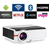 CAIWEI Bluetooth Projector Android, 4200 Lumens Wireless Home Theater Cinema Support Full HD 1080P Happycast Airply DLNA with HDMI USB VGA Port for iPhone iPad PC Smartphone, Video Beamer with Speaker