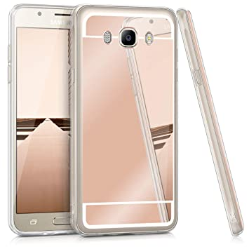 kwmobile Funda para Samsung Galaxy J7 (2016) - Carcasa Protectora Trasera de TPU para móvil en Oro Rosa con Efecto Espejo