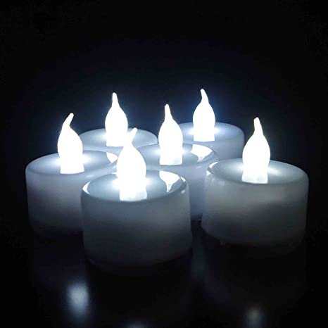 Goyal� Christmas Special Candles Flame Less Led Tea Light Battery-Powered Flame Less LED Flickering Flicker Tealight Candles Wedding Party Table Decoration (Pack of 12) Cool White TL3-12