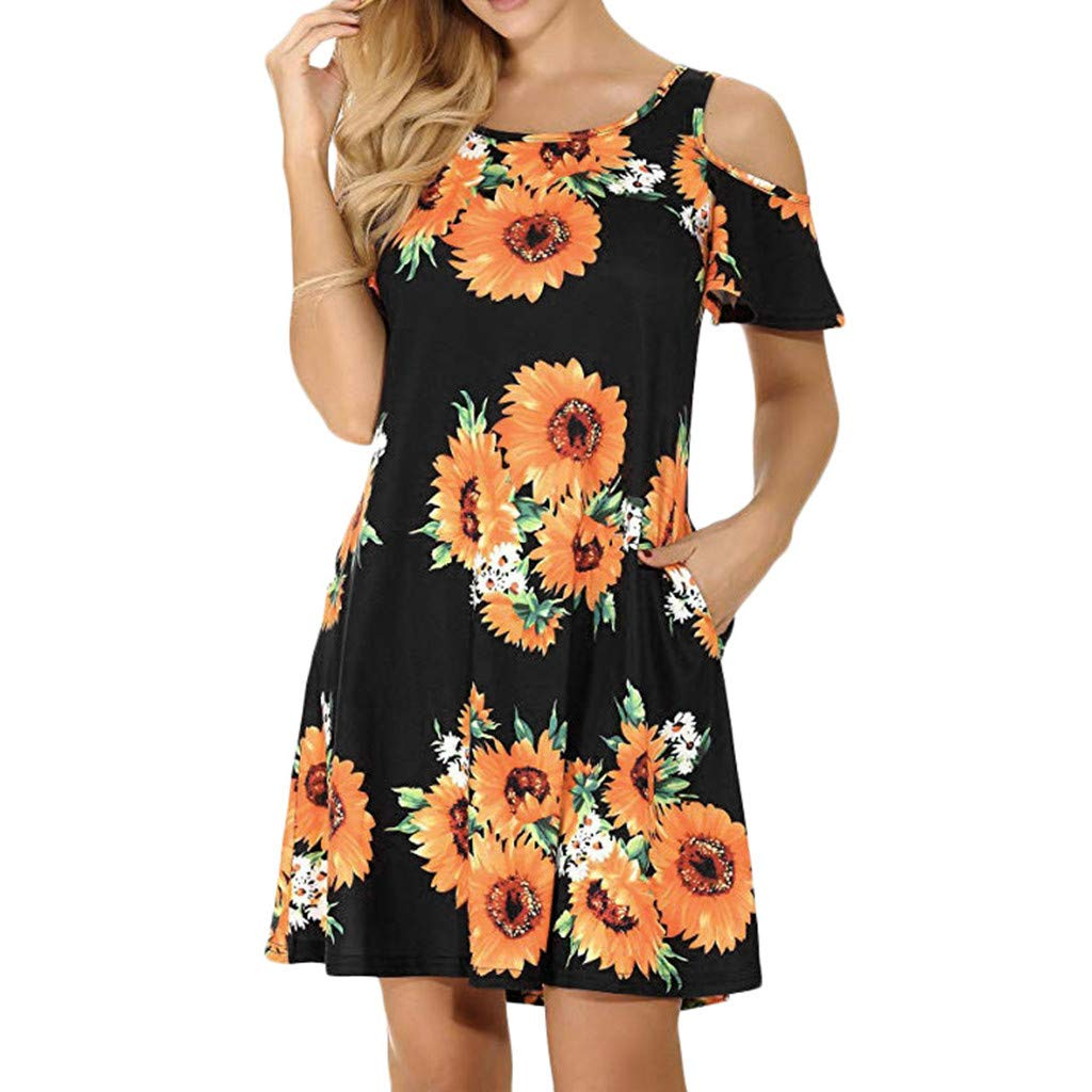 Seaintheson Women's Summer Dress, Casual Cold Shoulder Tunic Top Swing T-Shirt Loose Dresses Flower Print Mini Skirt Black
