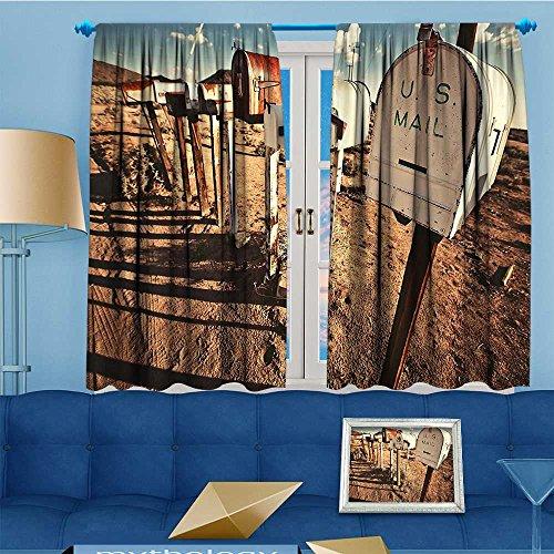 2 Panel Set Digital Printed Window Curtains, Mailboxes in West America Rural Rusty Brown Blue White Bedroom Living Room Dining Room, 55