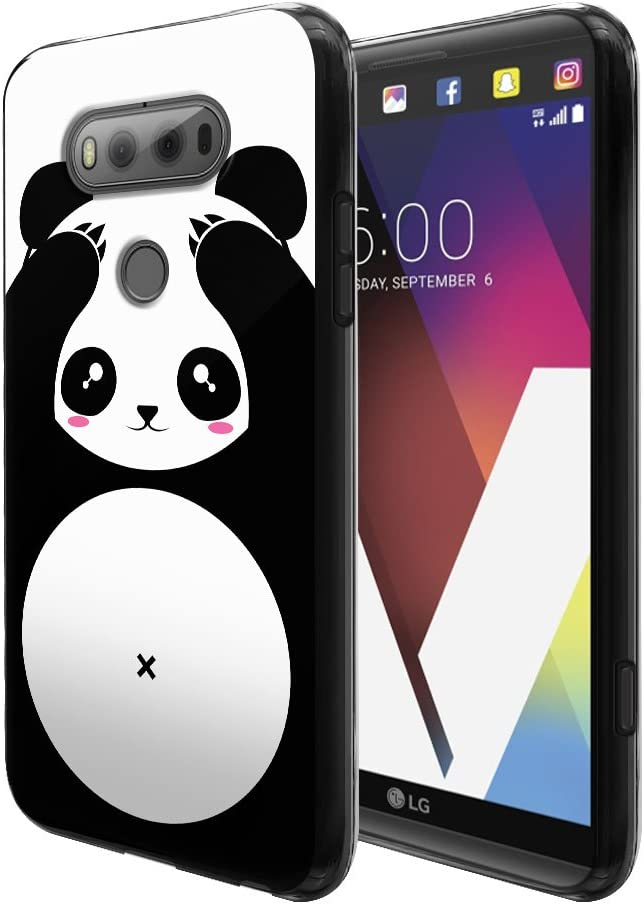 FINCIBO Case Compatible with LG V20 VS995 H990 LS997 H910 H918 US996, Flexible TPU Black Soft Gel Skin Protector Cover Case for LG V20 - Panda Bear Black White Style