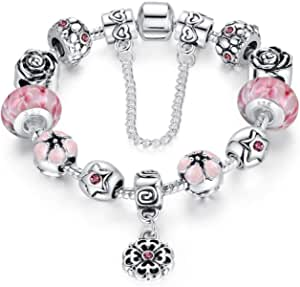 Silver Plated Flower Themed Charm Bracelet Gift for Mother and Mom The Most Exciting Mother's Day 18cm