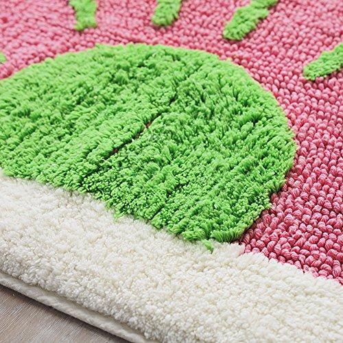 Lesic Soft Microfiber Anti-slip Kids Bath Rug Cute Watermelon 19.7inchX31.5inches (50cmX80cm) Interior Door Bath Mat, Pink by Lesic (Image #3)