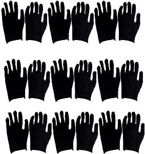 HEALLILY 12 pares de guantes de trabajo de algodón reutilizables, guantes de limpieza para adultos, guantes de protección de mano de obra para trabajos industriales, jardinería, talla M, color negro: Amazon.es: Salud