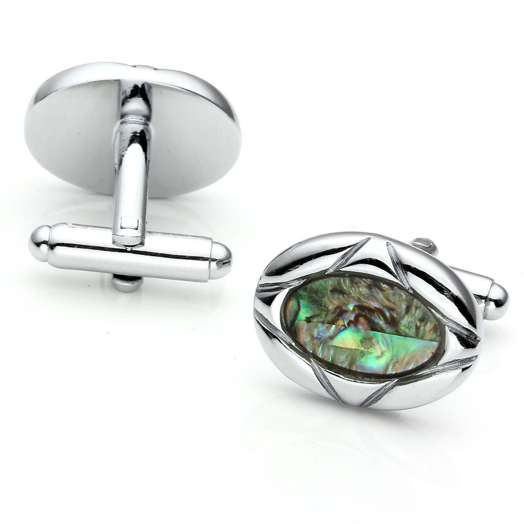 PiercingJ 2pcs Stainless Steel Exquisite GQ Classic Cufflinks Shirt Studs, Seashell Oval by PiercingJ (Image #2)