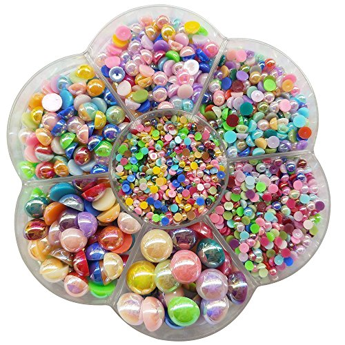 Chenkou Craft 3000PCS 1 Box Round Flatback Half Pearls Bead Loose Beads Gem (Half Ball/Bright Color)