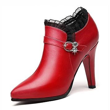 61ec5bcc Zapatos para mujer HWF Zapatos de tacón de Aguja de Cuero Puntiagudos  Zapatos de Dama de Honor (Color : Rojo, Tamaño : 37): Amazon.es: Hogar