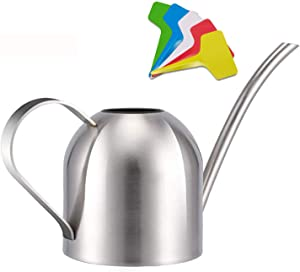 Liyahog Stainless Steel Watering Can for Indoor Plants and Garden (33oz)
