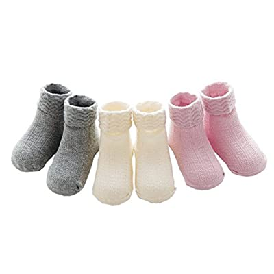 3 Pairs Cute Baby Newborn Cotton Thin Ankle Socks for Toddler Boys and Girls 0-3T