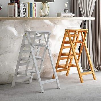 MDD Estante, taburete de escalera de estante Escalera de múltiples funciones Escalera de escalera Escalera de madera Taburete de la escalera plegable Espesamiento Instalación libre Ahorro de espacio: Amazon.es: Bricolaje y herramientas