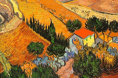 (Vincent Van Gogh Landscape with House and Ploughman Poster 36x24 inch)