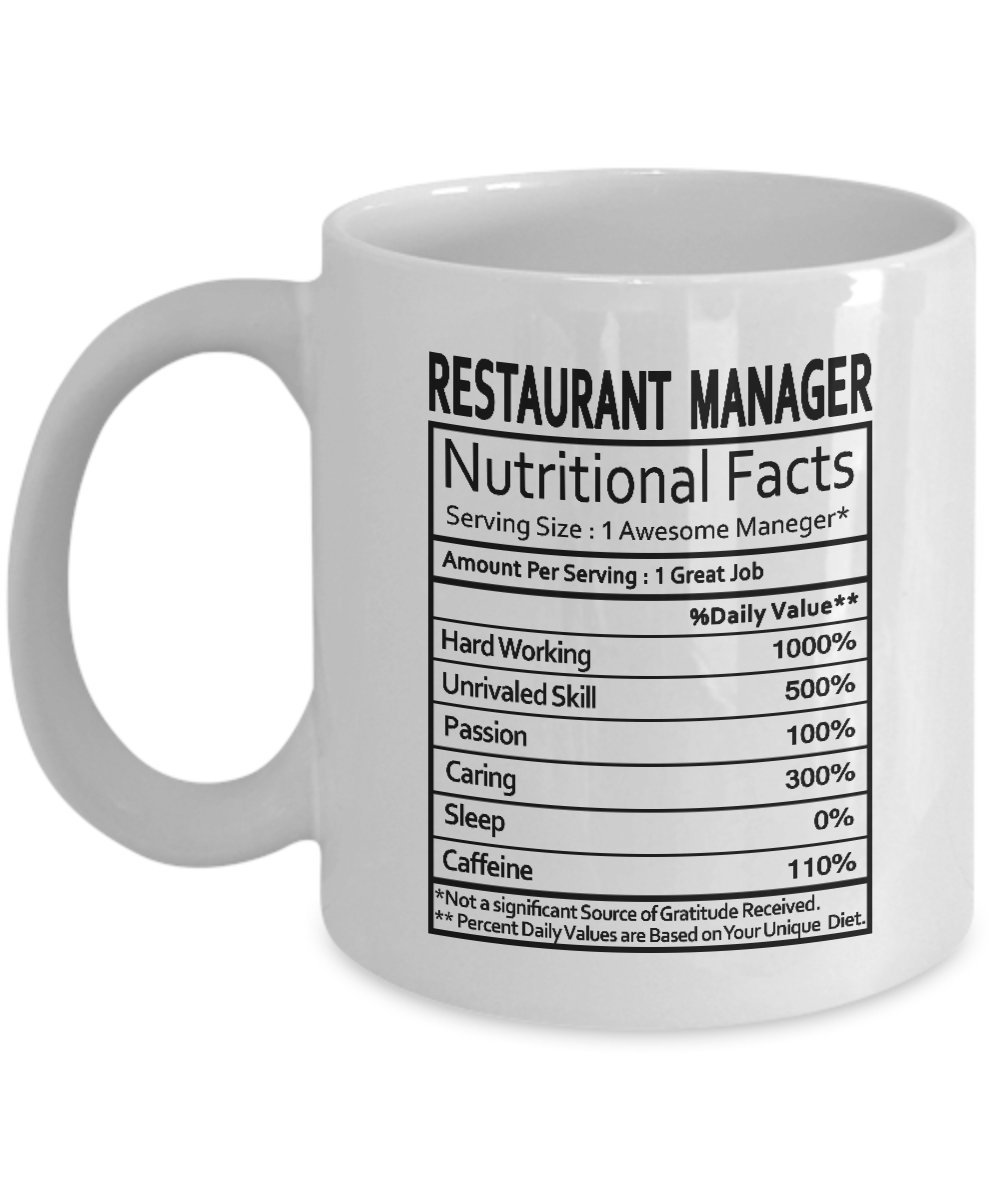 Restaurant Manager Gifts Nutritional Facts Label Gag