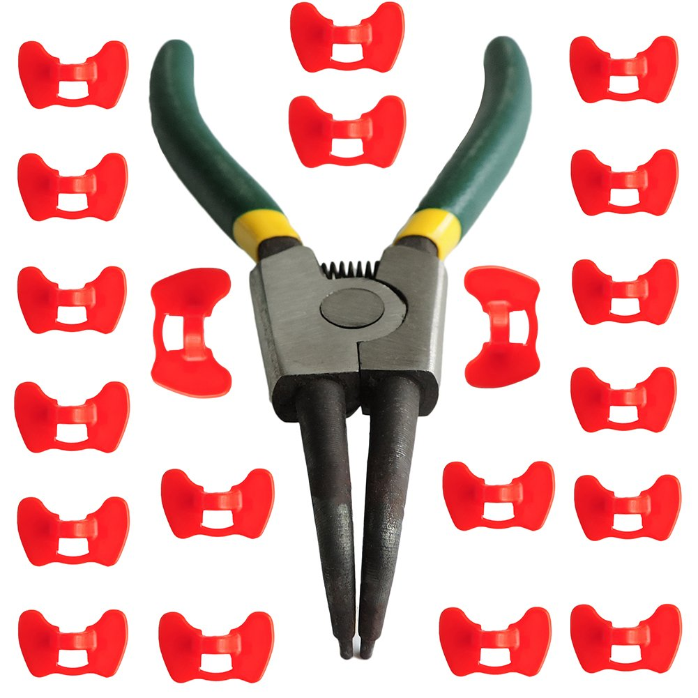 Farm Tool 20PCS Chicken Blinders Eye Glasses Pinless Peepers with Pliers (1Pliers & 20Pcs Medium)