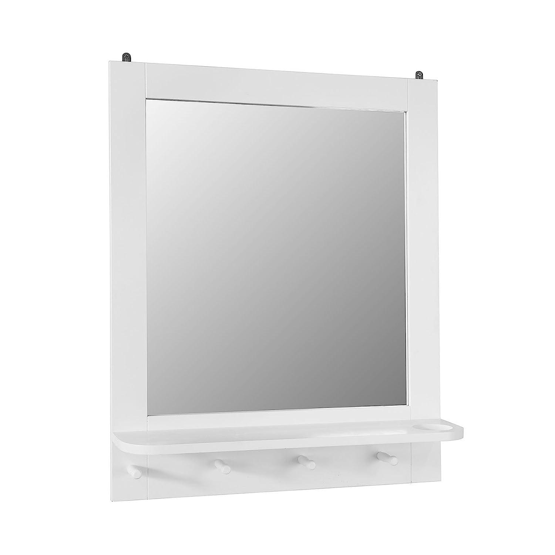 SoBuy Specchio da Bagno con mensola e Porta phon Specchio Trucco da Parete con 4 Ganci Bianco FRG257-W
