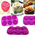 JoyGlobal Silicone 6 Cavity Rose Muffin Soap All Purpose Baking Mould (Soap Weight: Approx 85 Grams)