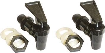 AquaNation BPA Free Replacement Cooler Faucet Water Bottle Jug Reusable Spigot Spout Water Beverage Lever Pour Dispenser Valve Water Crock Water Tap ((2) Twin Pack - Black)