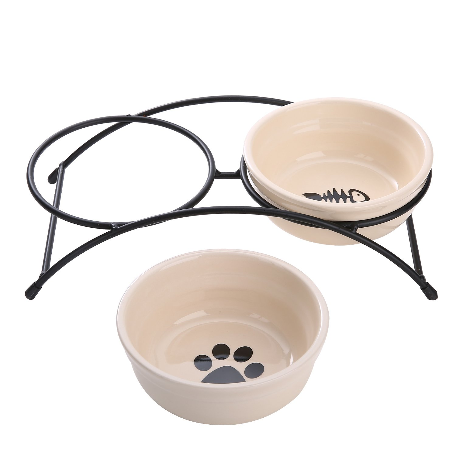 Pet Bowl with Stand Ceramic -FUBARBAR Elevated Raised Pet Food Water Feeding Serving Safe Double Bowls Tray Feeder with Iron Stand for Dogs and Cats Outdoor Travel