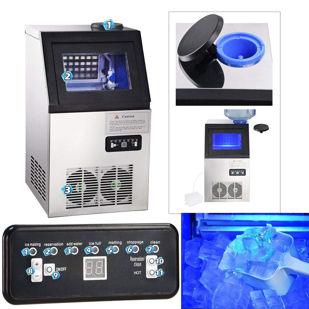 Commercial 110Lbs Clearly Ice Frozen Cube Maker Undercounter, real-time monitored and Automatic self-cleaning Refrigerant R1347A