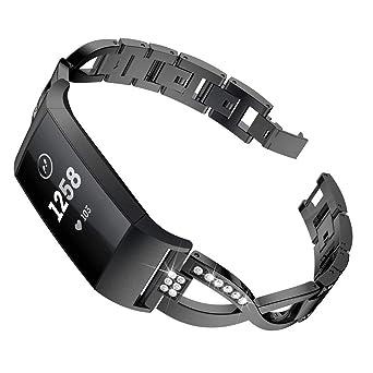 Wristbands Relojes para Unisex Forma de x Correa de Diamante Blanco Brazalete Aleación Pulsera de Manera Strap Repuesto Strap: Amazon.es: Relojes