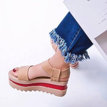 TYERY Femme Chaussures Mode tous les Match Student Muffin Sandales femelle décontracté Thick-soled Chaussures pour femme enceinte souple en bas, blanc, 36