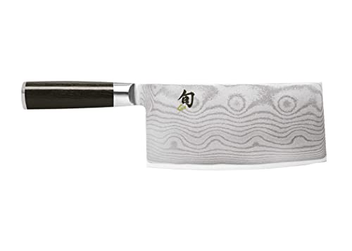 Shun Classic 7Inch Vegetable Cleaver; Ebony Pakkawood Handle And VG-MAX Damascus Clad