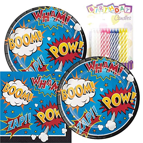 (JJ Party Supplies Super Hero Slogans Theme Plates and Napkins Serves 16 with Birthday Candles)