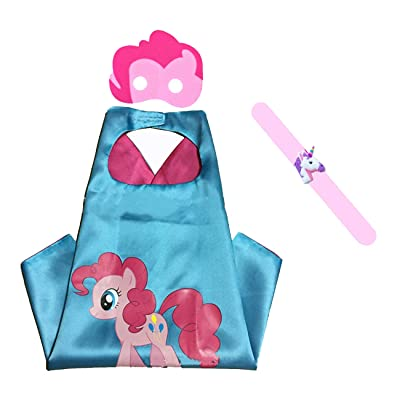 Raclove My Little Pony Costume Set—Cape, Mask and Pops Ring. for Age 4-10 Kids Boys and Girls. Wonderful Dressing up Gifts for Halloween Birthday Party Superhero Day and Play Day (Pinkie Pie): Clothing