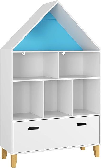 Homfa Estantería de Juguetes Estanteria Infantil Organizador de Juguetes con 1 Cajón y 6 Compartimentos de Almacenaje para Dormitorios de Niños Sala ...