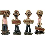 Home Originality Gruesome Foursome Mini Zombie Statues with Signs, Set of 4, 3 3/4 Inch