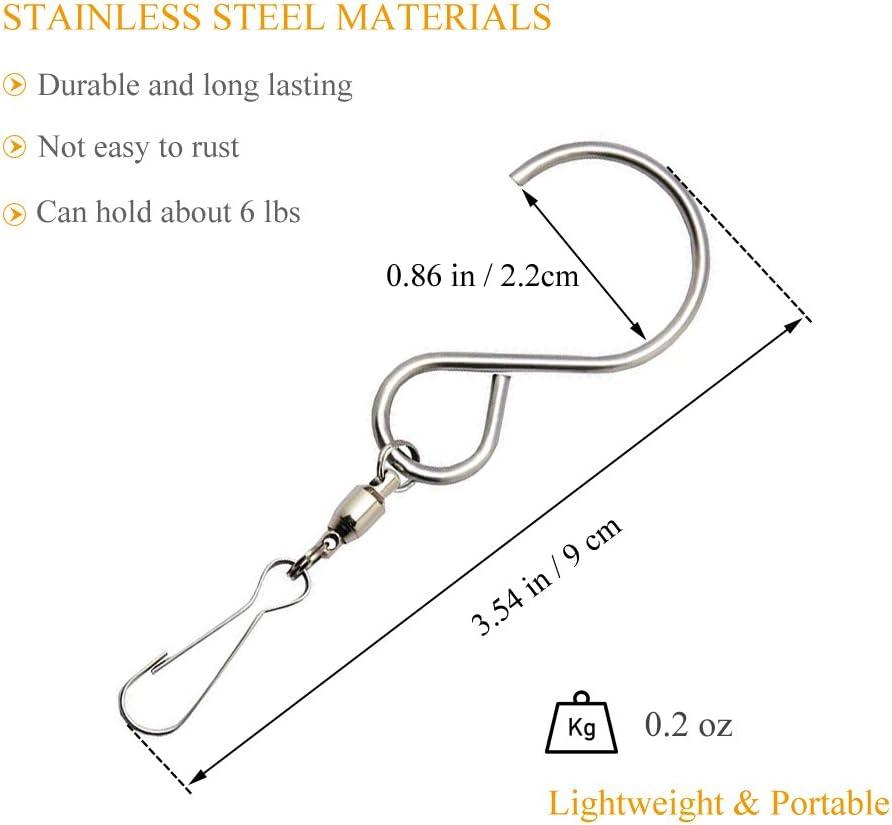 cortinas de jard/ín accesorios de adornos plata Coideal 12 Pack ganchos giratorios clips de cristal de acero inoxidable Twisters Wind Spinner colgador para colgar campanas de viento
