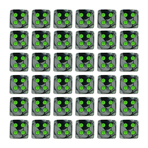 36 Dice Set - Chessex Dice d6 Sets: Gemini Black & Grey / Gray with Green - 12mm Six Sided Die (36) Block of Dice