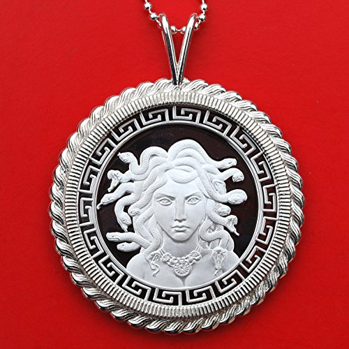 Classic Greek Medusa 1 oz Silver Round BU Unc Prooflike Coin Solid 925 Sterling Silver Necklace NEW