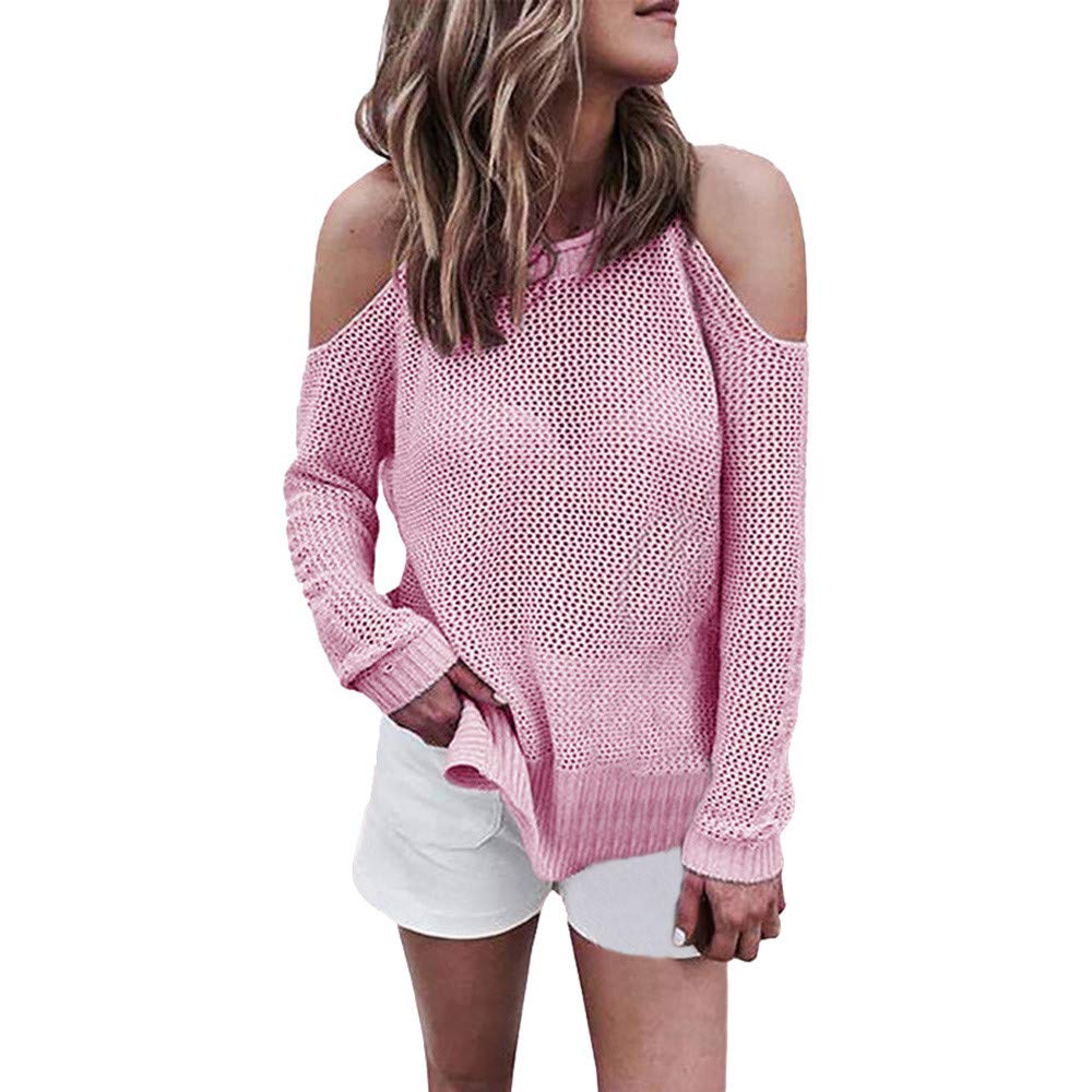 YANG-YI Women Round Neck Long Sleeve Off Sholder Hollow Out Sweater Knitted Shirt