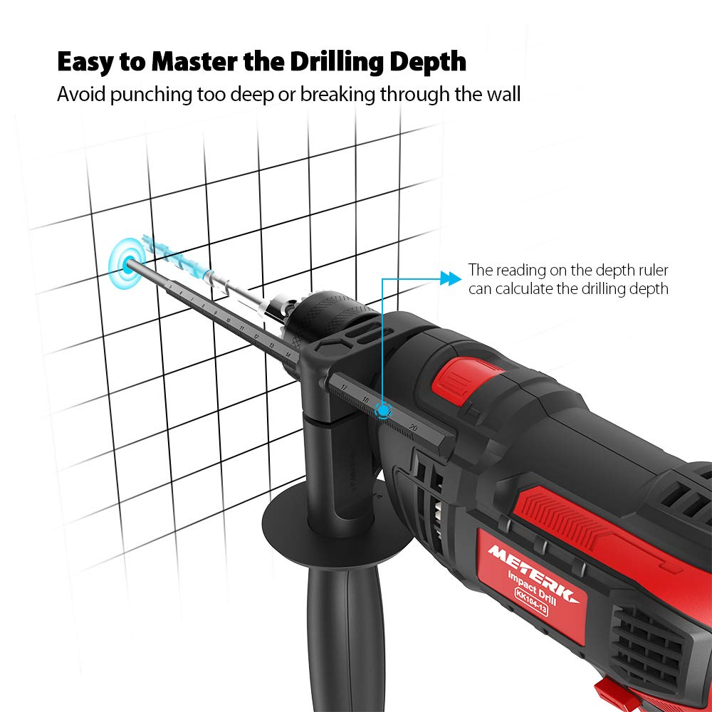 Meterk 7.0 Amp 1/2 Inch Corded Drill 850W, 3000RPM Dual Switch Between Electric Hammer Drill and Impact Drill, With Adjustable Speed for Drilling Wood, Steel, Concrete&Plastic DIY Drilling by Meterk (Image #8)