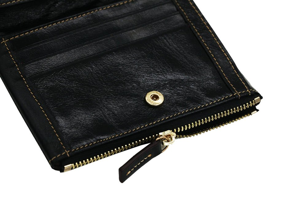Fashion Genuine Leather Wallet Mini Bifold Zippered Clutch with Card Case Holder Black
