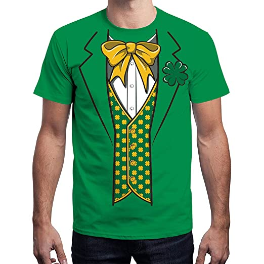 f5041256027990 FINME Unisex Men Women St.Patrick s Day Green Leaf Print Short Sleeve Tee  Shirt Top