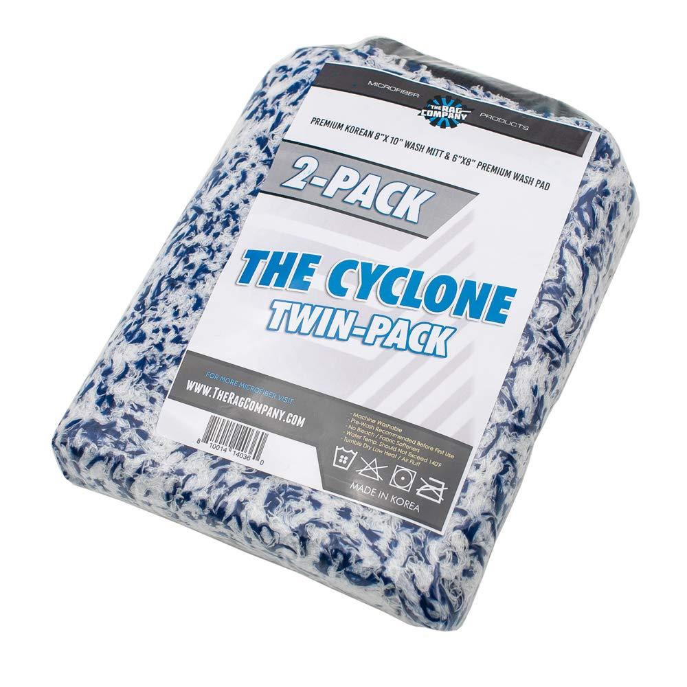 THE RAG COMPANY 2-Pack Premium Cyclone Korean Microfiber Wash Mitt and 6 x 8 Cyclone Wash Pad Combo Kit