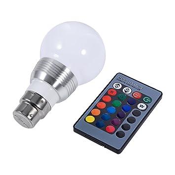 Bombillas Colores Bombilla LED Bombilla Regulable Cambio de Color 3W RGB 16 Color, Control Remoto Incluido, para Casa/Decoración/Bar/Fiesta, 85-265V(B22): ...