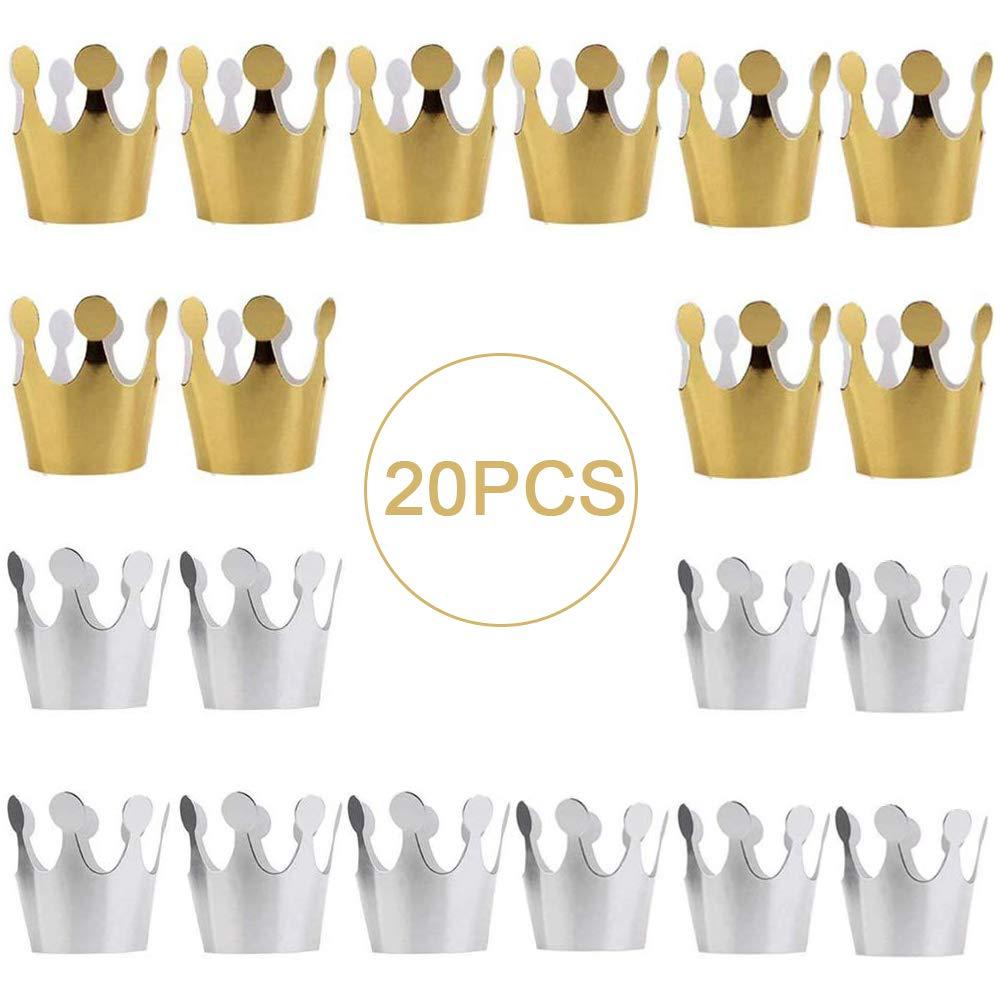 gotyou 20 Piezas Sombrero de Fiesta de Cumplea/ños,Sombrero de Corona de Cumplea/ños,Sombrero de Celebraci/ón de Cumplea/ños,Decoraci/ón de Celebraci/ón de Cumplea/ños para Fiesta Infantil,Oro,Plata