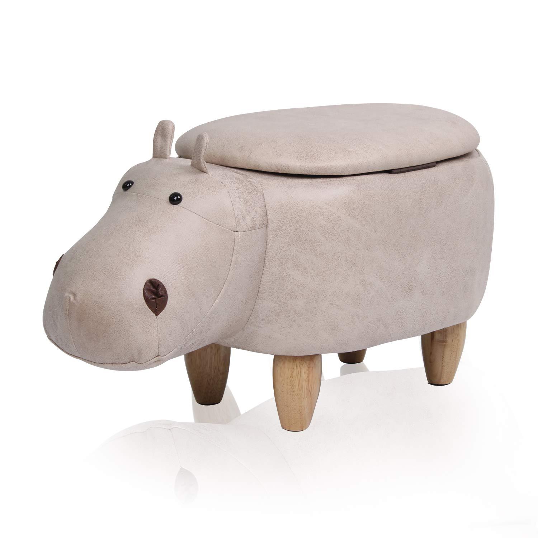 TUKAILAI Elephant Shape Footstools Ottomans Padded Cushion Footstool Pouffe Stool Rest Seat Sofa Chair Beige Color