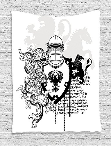 asddcdfdd Medieval Decor Tapestry, Heraldic Helmet Coat Of Medieval Knight With Ornate Pattern The Past Old Times Graphic, Bedroom Living Room Dorm Decor, 40 W x 60 L Inches, Black White